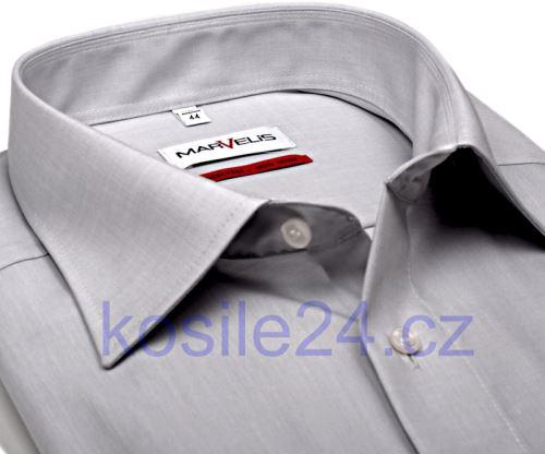 Marvelis Comfort Fit Chambray – svetlosivá košeľa - krátky rukáv