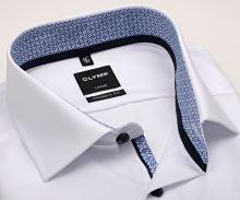 Olymp Luxor Modern Fit – bílá košile s modro-bílým vnitřním límcem, manžetou a légou