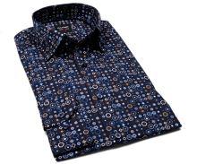 Olymp Level Five – deisgnová tmavomodrá košile s hnědo-modro-bílým vzorem