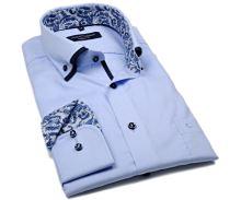 Casa Moda Modern Fit – světle modrá košile s dvojitým límcem - extra prodloužený rukáv