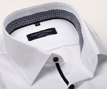 Casa Moda Comfort Fit Premium – bílá košile s jemnou strukturou a modro-fialovým vnitřním límcem