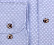 Eterna 1863 Modern Fit Two Ply - luxusná svetlomodrá košeľa s bielym votkaným vzorom