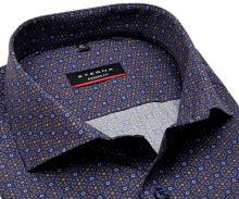Eterna Modern Fit – dizajnová modro-hnedá košeľa s tľačeným vzorom