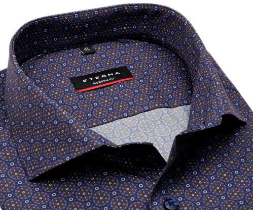 Eterna Modern Fit – dizajnová modro-hnedá košeľa s tľačeným vzorom - predĺžený rukáv
