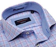 Casa Moda Modern Fit Premium – luxusná svetlomodrá košeľa s votkanou fialovo-ružovou kockou s vnútorným golierom