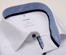Olymp Luxor Comfort Fit – bílá košile s modro-bílým vnitřním límcem, manžetou a légou