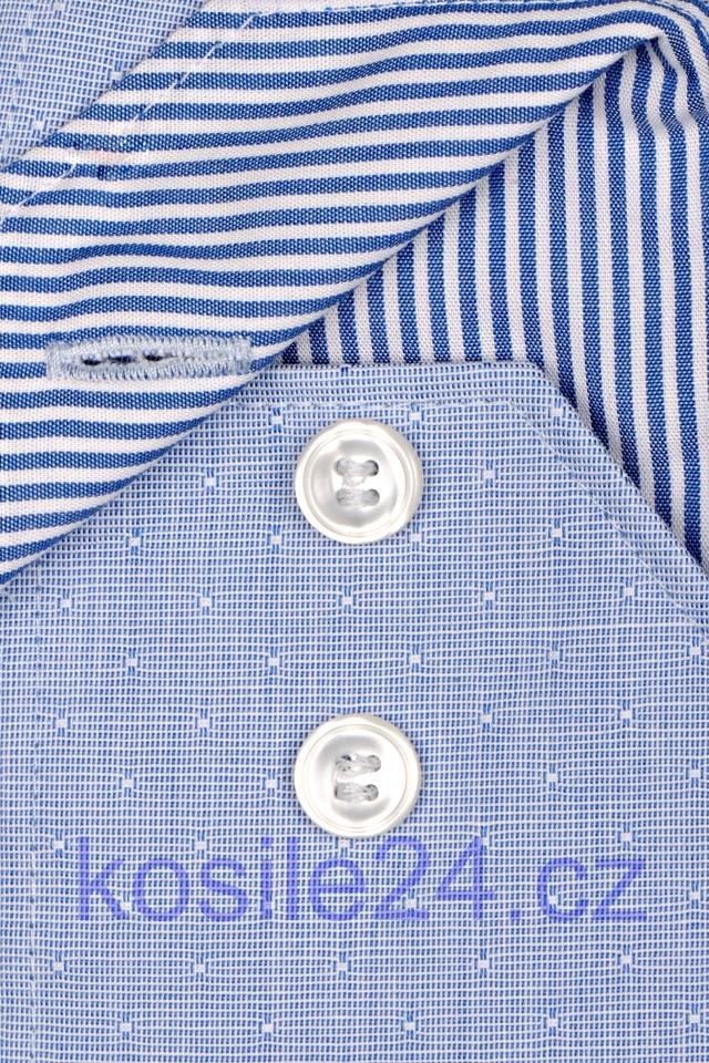565fc1a82401 Marvelis Body Fit – modrá košeľa s votkaným vzorom a vnútorným golierom -  predĺžený rukáv