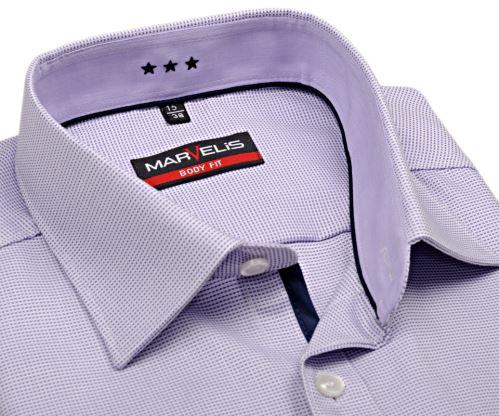 Marvelis Body Fit – košeľa so svetlofialovým votkaným vzorom s vnútorným golierom a légou