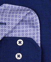 Eterna Comfort Fit - tmavě modrá košile s jemnou strukturou a vnitřním límcem - prodloužený rukáv
