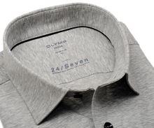 Olymp Modern Fit 24/Seven – šedá elastická košile se světlým rastrováním