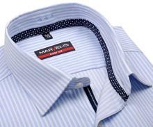 Marvelis Body Fit – košeľa so svetrlomodrým prúžkom a vnútornou légou - krátky rukáv