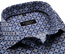 Eterna Comfort Fit – tmavomodrá dizajnová košeľa s bielo-modro-hnedými ornamentmi - extra predĺžený rukáv