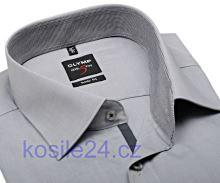Olymp Level Five Chambray – svetlosivá košeľa s vnútorným golierom a légou - krátky rukáv