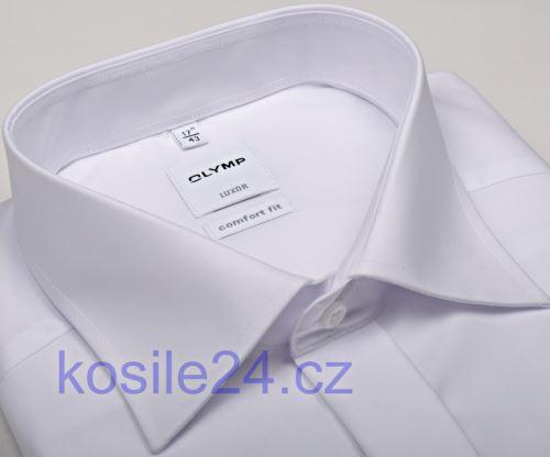 Olymp Luxor Comfort Fit - biela gala košeľa s dvojitou manžetou a skrytou légou
