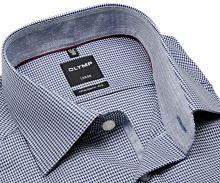 Olymp Modern Fit – košeľa s tmavomodro-bielym votkaným vzorom a vnútorným golierom - predĺžený rukáv