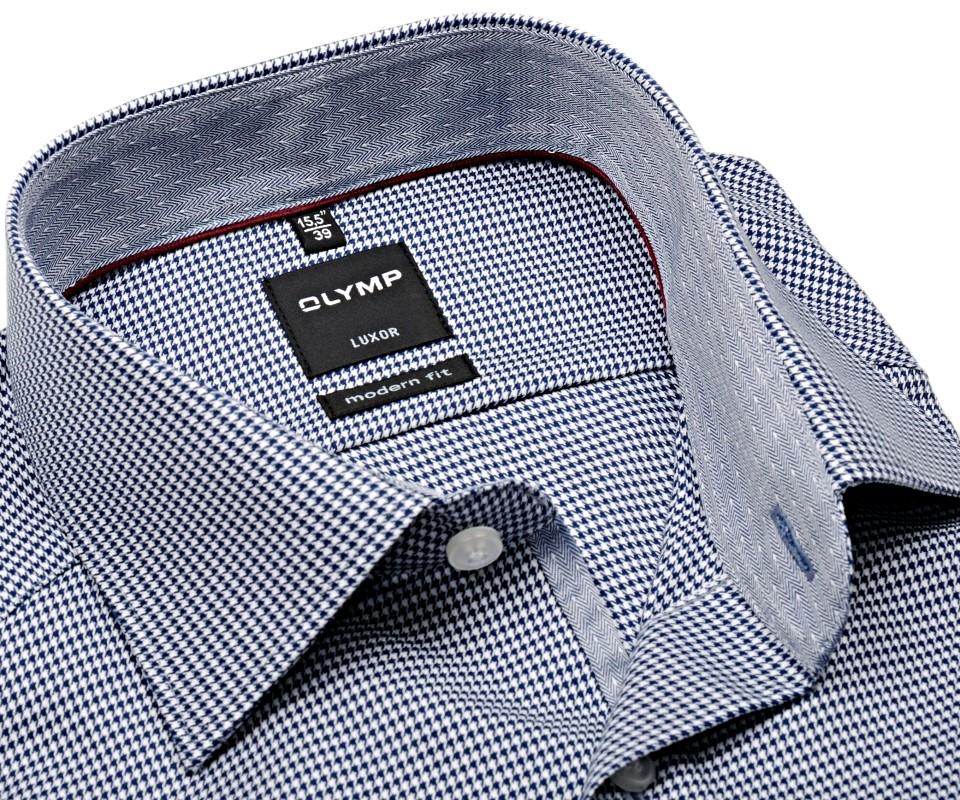 2c104e446cde Olymp Modern Fit – košeľa s tmavomodro-bielym votkaným vzorom a vnútorným  golierom