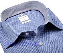 Olymp Luxor Comfort Fit – košile s tmavě modrým minikárem s vnitřním límcem - krátký rukáv