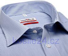 Marvelis Modern Fit - bílá košile se světle modrým proužkem - krátký rukáv