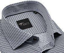 Venti Slim Fit – košeľa s čierno-sivým vzorom a vnútorným golierom - predĺžený rukáv