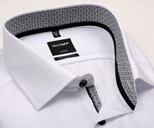 Olymp Luxor Modern Fit – biela košeľa s čierno-bielym vnútorným golierom a manžetou - predĺžený rukáv