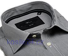 Venti Slim Fit – čierne minikáro s vnútorným golierom a manžetou - extra predĺžený rukáv