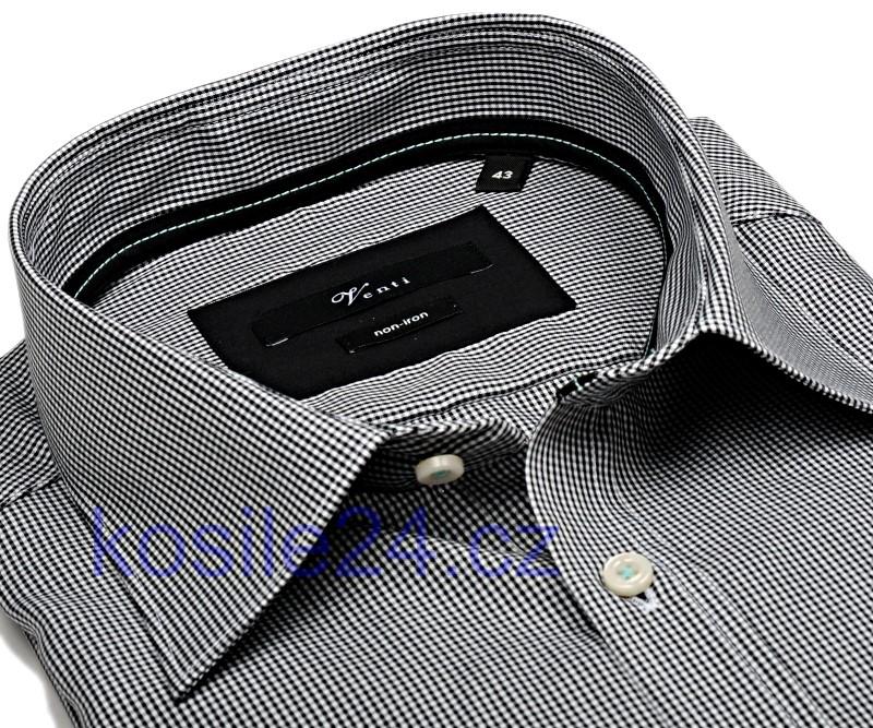Venti Slim Fit – černé minikáro s vnitřním límcem a manžetou - extra  prodloužený rukáv 6031be9f7b