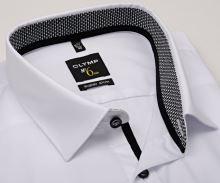 Olymp Super Slim – bílá košile s šedo-černým vnitřním límcem a manžetou
