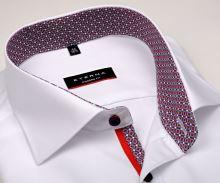 Eterna Modern Fit – biela košeľa s červeno-modrým vnútorným golierom - krátky rukáv
