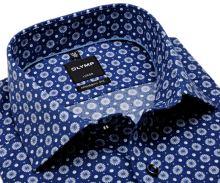 Olymp Luxor Modern Fit - modrá košeľa s jemnou štruktúrou a bielym vzorom - predĺžený rukáv