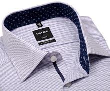 Olymp Luxor Modern Fit  – košile s modrým vzorem a růžovým nádechem - prodloužený rukáv