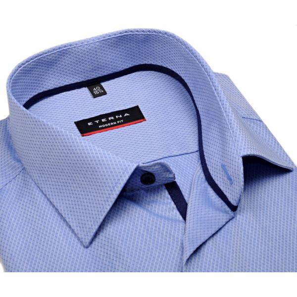 c1a054e77a4b Svetlomodrá slim košeľa Eterna s votkaným vzorom - krátky rukáv
