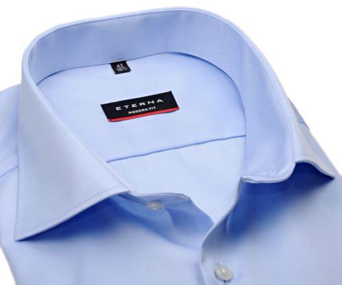 Eterna Modern Fit Twill Cover - luxusná svetlomodrá nepriehľadná košeľa - extra predĺžený rukáv