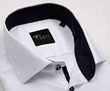 Venti Slim Fit – bílá košile se strukturou a tmavomodrým vnitřním límcem, manžetou a légou