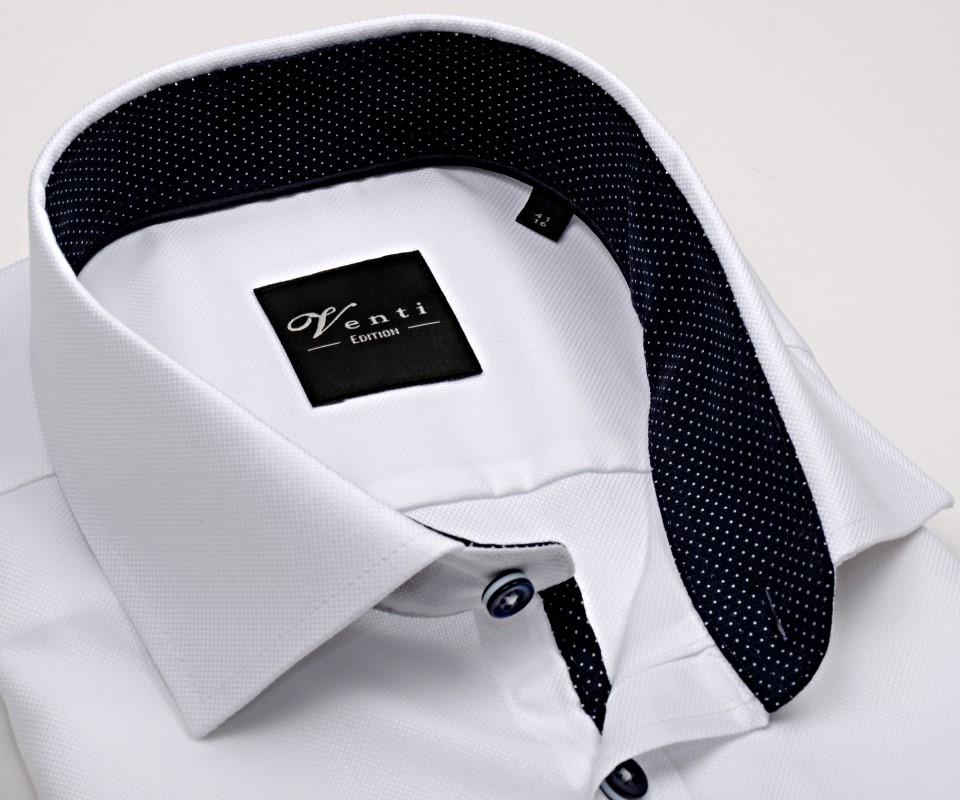 Venti Slim Fit – biela košeľa so štruktúrou a tmavomodrým vnútorným  golierom 4148e71605