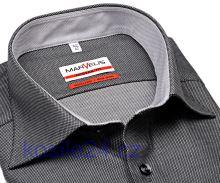 Marvelis Modern Fit – luxusní černo-stříbrná košile se strukturou a vnitřním límcem a manžetou