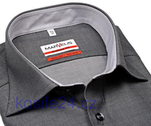 Marvelis Modern Fit – luxusná čierno-strieborná košeľa so štruktúrou a vnútorným golierom a manžetou
