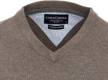 Bavlněný svetr Casa Moda – šedo-hnědý - extra prodloužený rukáv