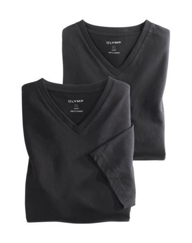 Černé bavlněné tričko Olymp s krátkým rukávem - V-výstřih (2 ks)