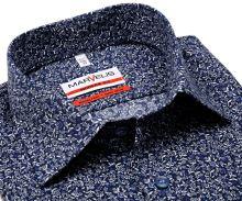 Marvelis Modern Fit – designová tmavomodrá košile se vzorem lístků - prodloužený rukáv