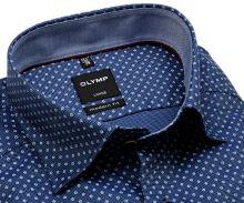 Olymp Modern Fit – modrá košeľa s jemnou štruktúrou, bielym vzorem a vnútorným golierom