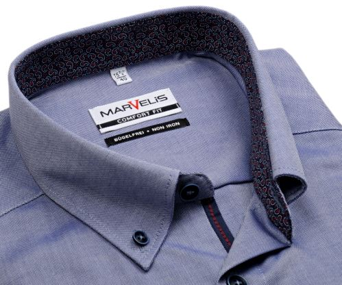 Marvelis Comfort Fit – košeľa s modro-bielym rastrovaním, vnútorným golierom a légou