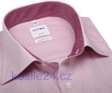 Olymp Luxor Comfort Fit – košile s červeným proužkem a vnitřním límcem a manžetou