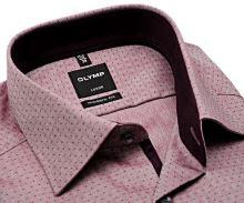 Olymp Modern Fit Luxor – vínově červená košile s vnitřním límcem, manžetou a légou