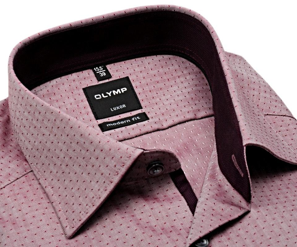 88d66537f7a Olymp Modern Fit Luxor – vínovo červená košile s vnitřním límcem -  prodloužený rukáv
