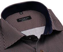 Eterna Comfort Fit – modro-hnedá košeľa s tľačeným vzorom, vnútorným golierom a manžetou