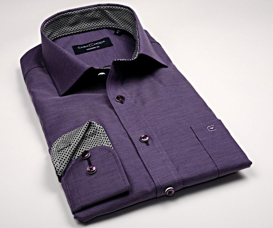 Casa Moda Modern Fit Premium – fialová košile se strukturou a vnitřním  límcem - extra prodloužený e2c9fe8757