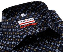 Marvelis Modern Fit - tmavomodrá košeľa s farebnými ornamentmi - predĺžený rukáv