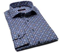 Eterna Modern Fit Twill – tmavomodrá designová košile s bílo-modro-hnědými ornamenty - prodloužený rukáv