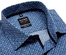 Olymp Level Five – sivo-modrá košeľa s bodkami - krátky rukáv