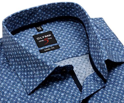 Olymp Level Five – šedo-modrá košile s puntíky - krátký rukáv